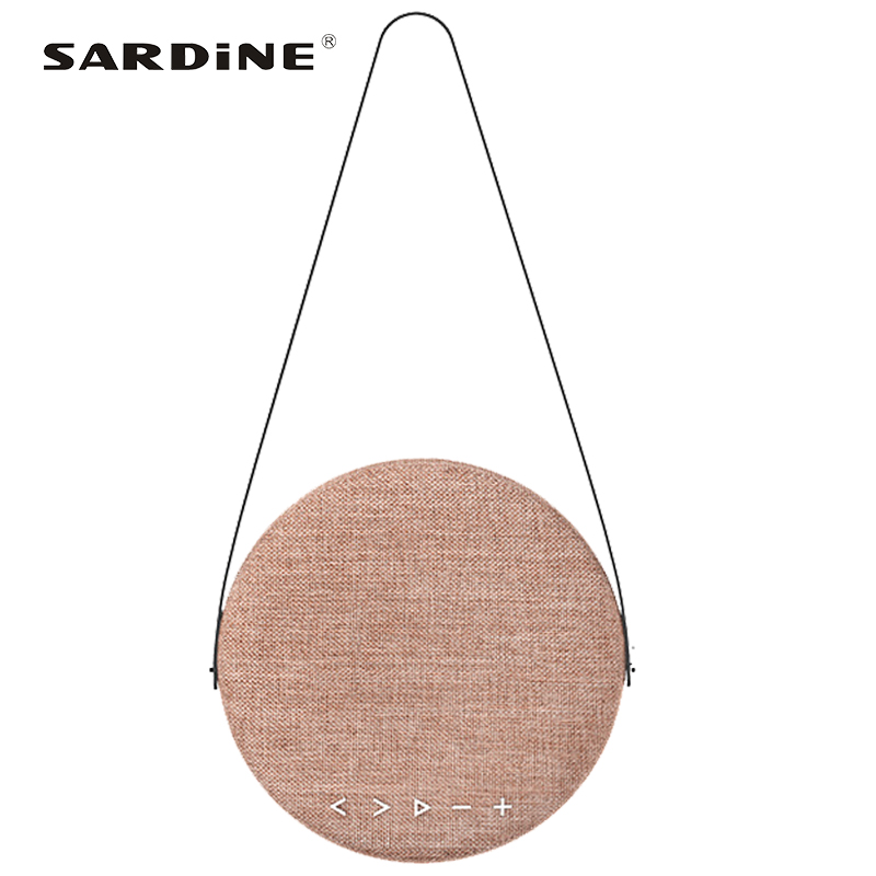 Sardine F6 <font><b>bluetooth</b></font> speaker fresh and pure korean style round sound box bag with <font><b>belt</b></font> 4000mAh 12w big power for dormitory party