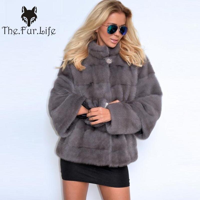 Luxury Whole Skin Real Mink Fur Coats Female Sleeve Detachable Fashion Slim Mink Fur Jackets Stand Collar Warm Natural Fur Coat