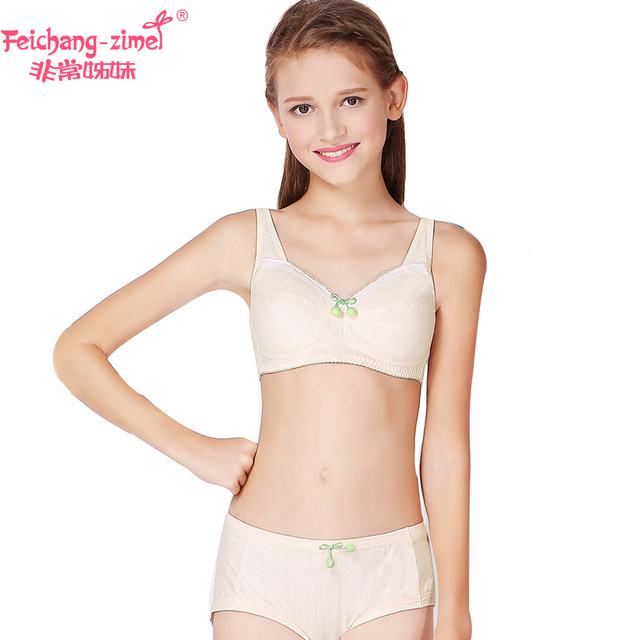 703a2eaf90951 Free Shipping Feichangzimei Girls Underwear Girls Bra And Panties Cotton  White  Apricot Training Bra Set -100141S