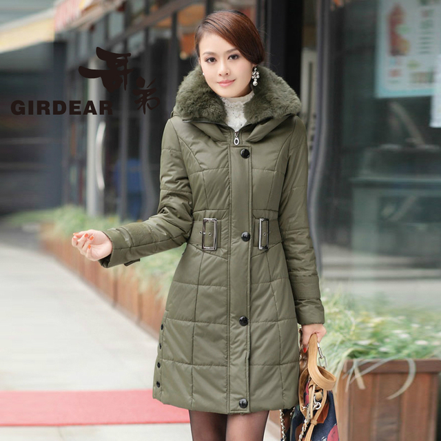 2013 winter Female slim plus size with a hood large fur collar long design wadded jacket down cotton-padded jacket outerwear