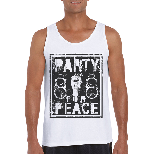 71d7216fb5ea2 2019 Newest Summer White Tank Top Men Fashion Design Peace Printed Male  Singlets Gym Mens Clothing Sleeveless Bodybuilding Shirt