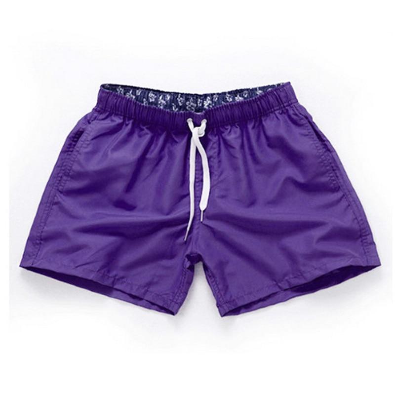 Purple-Men Beach Sport Swim Trunks Surf Swimwear Quick Drying Briefs