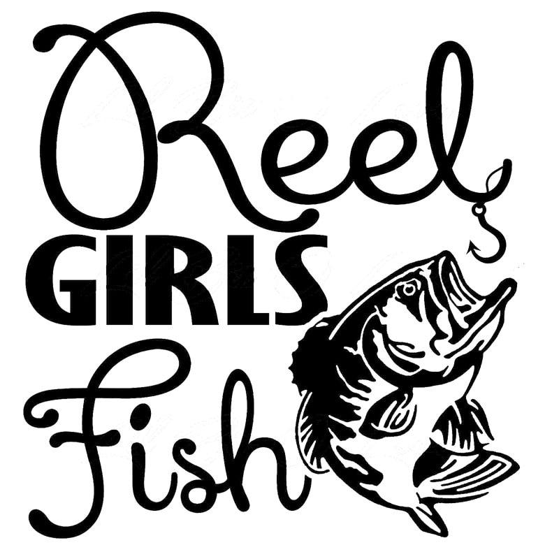 16 7cm 17 8cm Full Size Reel Girls Fish Vinyl Decals With
