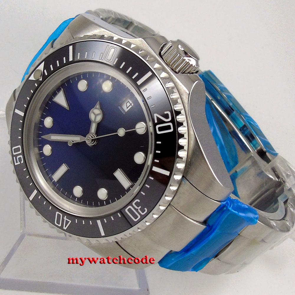 44mm parnis sterile black blue dial 316L stainless steel case black Ceramic Bezel luminous automatic movement men watch 065