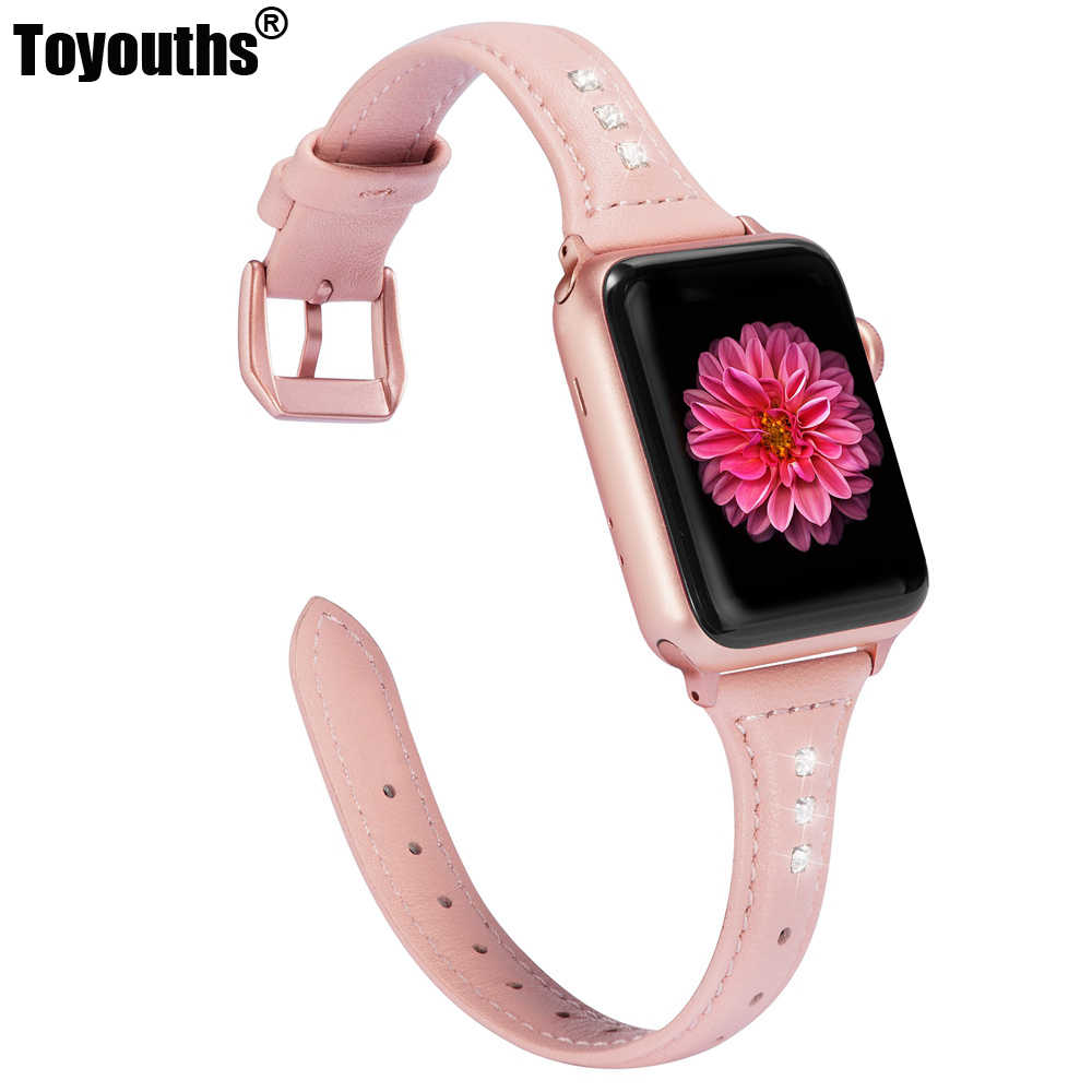 Slim Leather For Apple Watch Band 38mm 42mm iWatch Women Rhinestone Strap Beauty Sport Cute Bracelet For Series 4 3 2 1