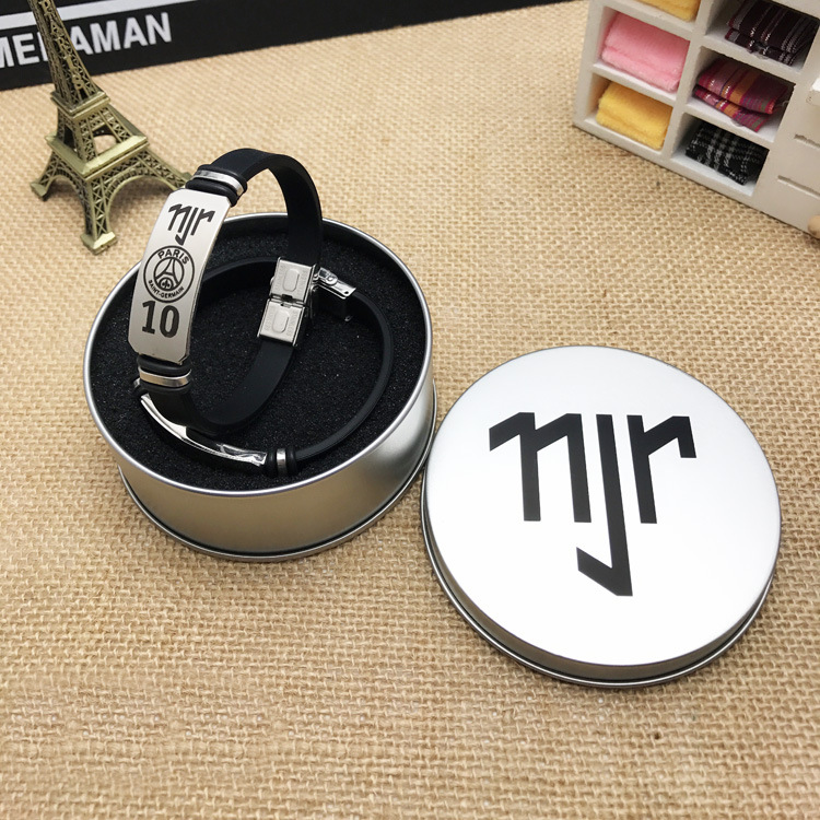 Beautiful 1pcs Top Quality Stainless Steel Wristband Tin Box Pack Silicone Bangle Football Super Star Signature For Neymar Bracelet Fine Craftsmanship