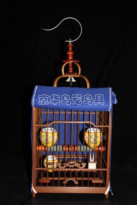 Thruputs bird cage bamboo double layer flat thrush cage full set,bamboo bird cage