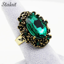Antique Bronze  Vintage Gold Color Green Crystal Stone Rhinestones Adjustable Ring Finger Jewelry Women Wedding Fashion 1105