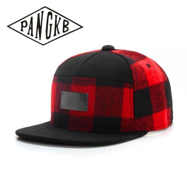 Pangkb Brand Bl Plated Cap Red Black Plaid Wool Snapback Hat For Men Women Adult Sports Hip Hop Outdoor Summer Sun Baseball Cap