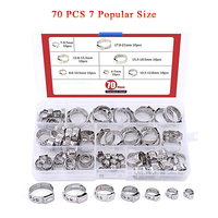 70Pcs 7 21mm 304 Stainless Steel Single Ear Stepless Hose Clamps Assortment Kit