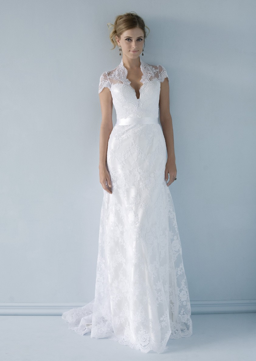 A Line Sash Lace Sleeve Wedding Dress with Teal | Dress images
