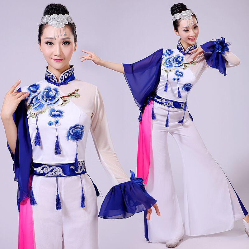 2016 Sale Ancient Chinese Costume Hmong Clothes Chinese Folk Style Yangko Dance Costumes Classical Drum Fan Clothing
