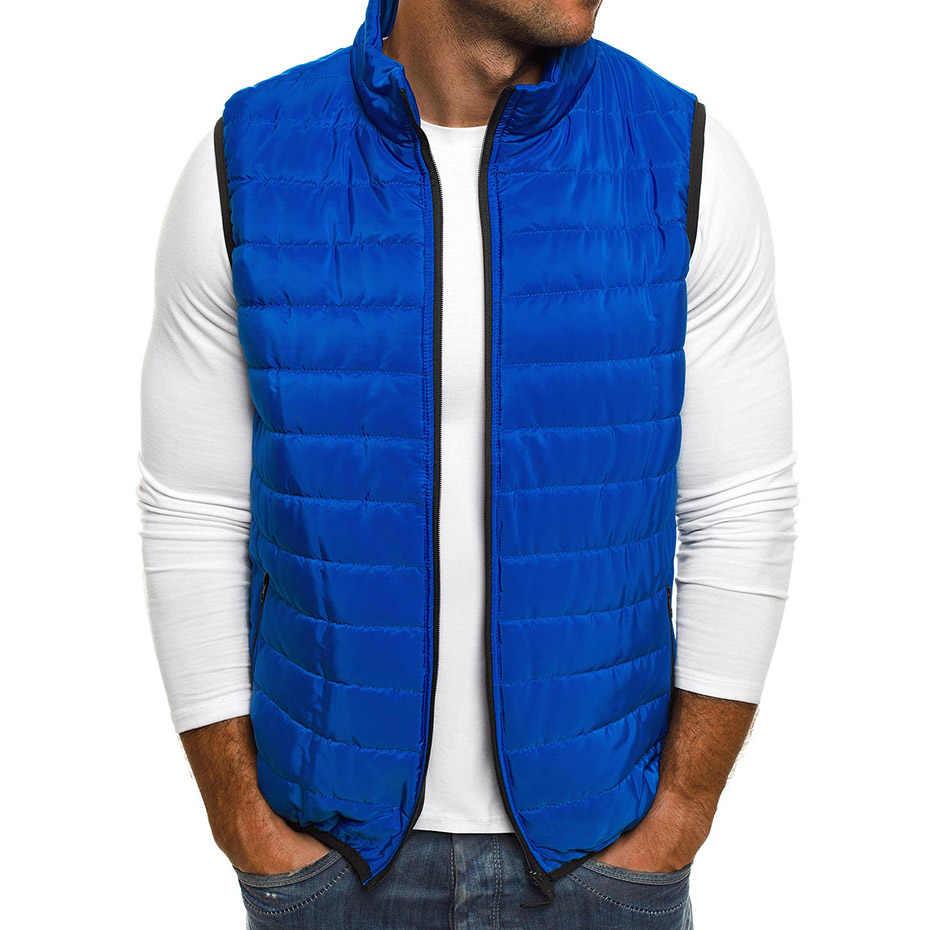 ZOGAA メンズベストカジュアルなアウターウェア秋のジャケットベストコートベストアウターメンズチョッキをノースリーブメンズパーカージャケットジッパーコートの男の服