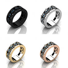 Unique Female Crystal Blue Stone Ring Vintage Silver Gold Finger Ring Black Wedding Bands Punk Style Skull Rings For Women(China)