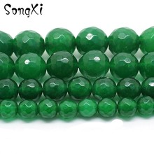 Wholesale Faceted Dark Green Chalcedony Stone Loose Beads for Jewelry MakingSize 4/6/8/10/12mm 15 inches DIY Necklace Bracelet