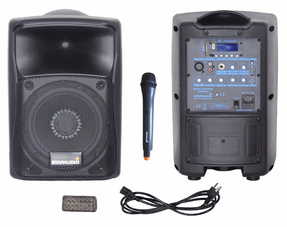 STARAUDIO 800W 8Stage Karaoke Pro PA DJ BT Powered Active Rechargeble Battery USB SD Speaker UHF Mic RGB LED Lighting SBM-08RGB