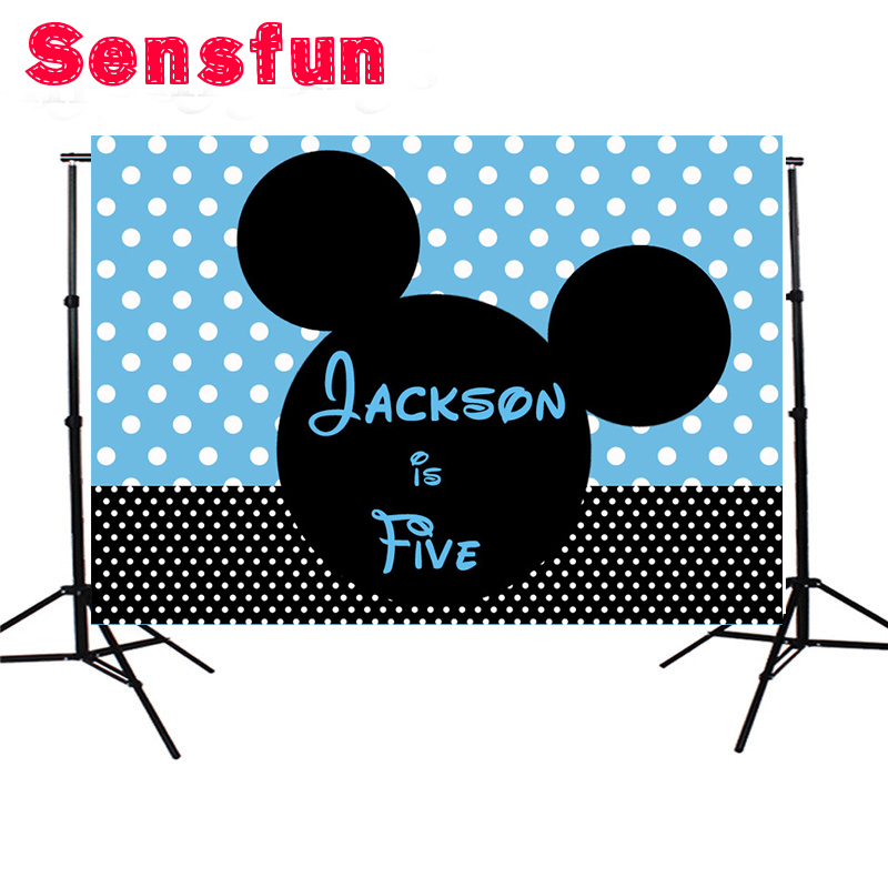 Cartoon Mickey Minnie Mouse Custom Photography Studio Backgrounds Newborn First Birthday Party Photo Backdrops 7x5ft