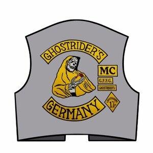 Image 4 - Mc1931 7 Stks/set Ghostriders Duitsland Geborduurde Patch Iron On Naai Terug Biker Rider Patch Voor Jas Vest Gratis verzending
