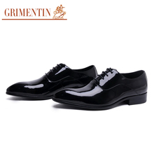 GRIMENTIN UK fashion high top men's wedding shoes genuine patent leather lace up pointed toe black mens dress shoes flats