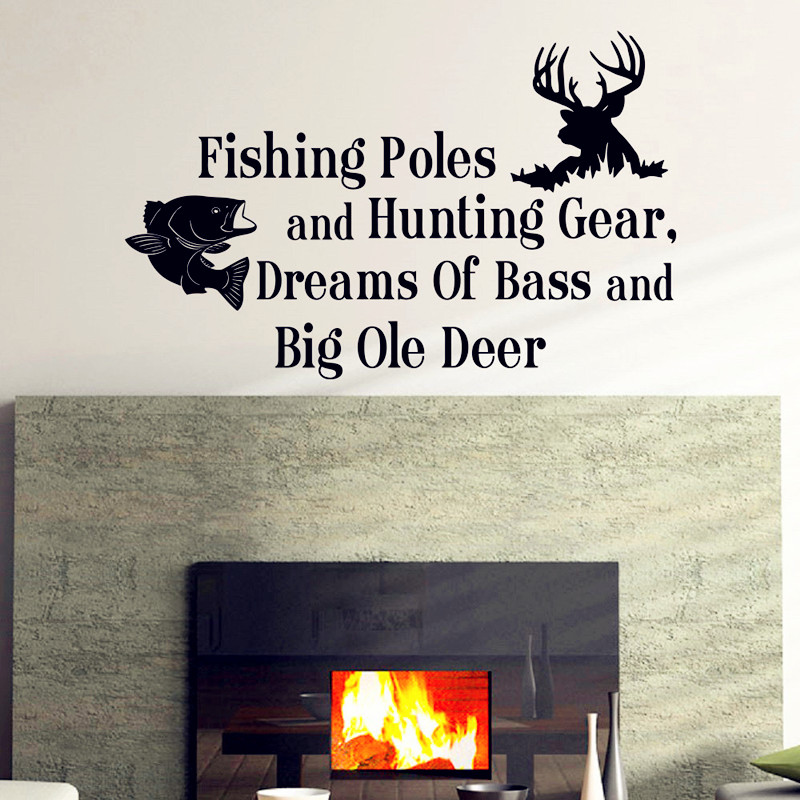 Country Deer Wall Decals Quotes Fishing Poles And Hunting Gear .. Wallpaper Wall Stickers For Kids Room Nursery Bedroom Decor