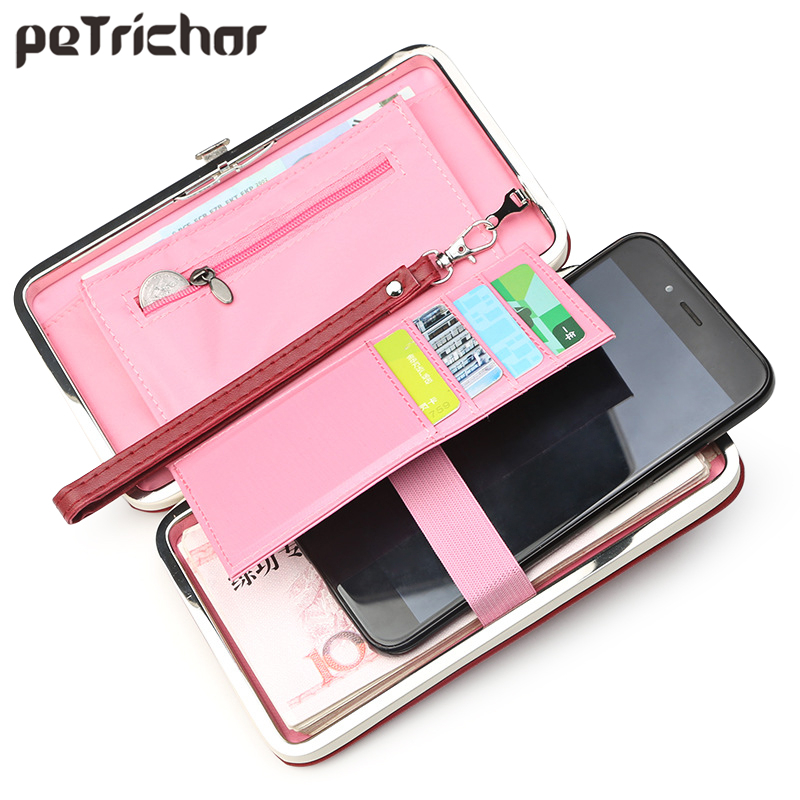 Brand Designer Cell Phone Box Women Wallet Large Capacity Leather Wristband Clutch Wallet Female Fashion Ladies Long Purse HOT