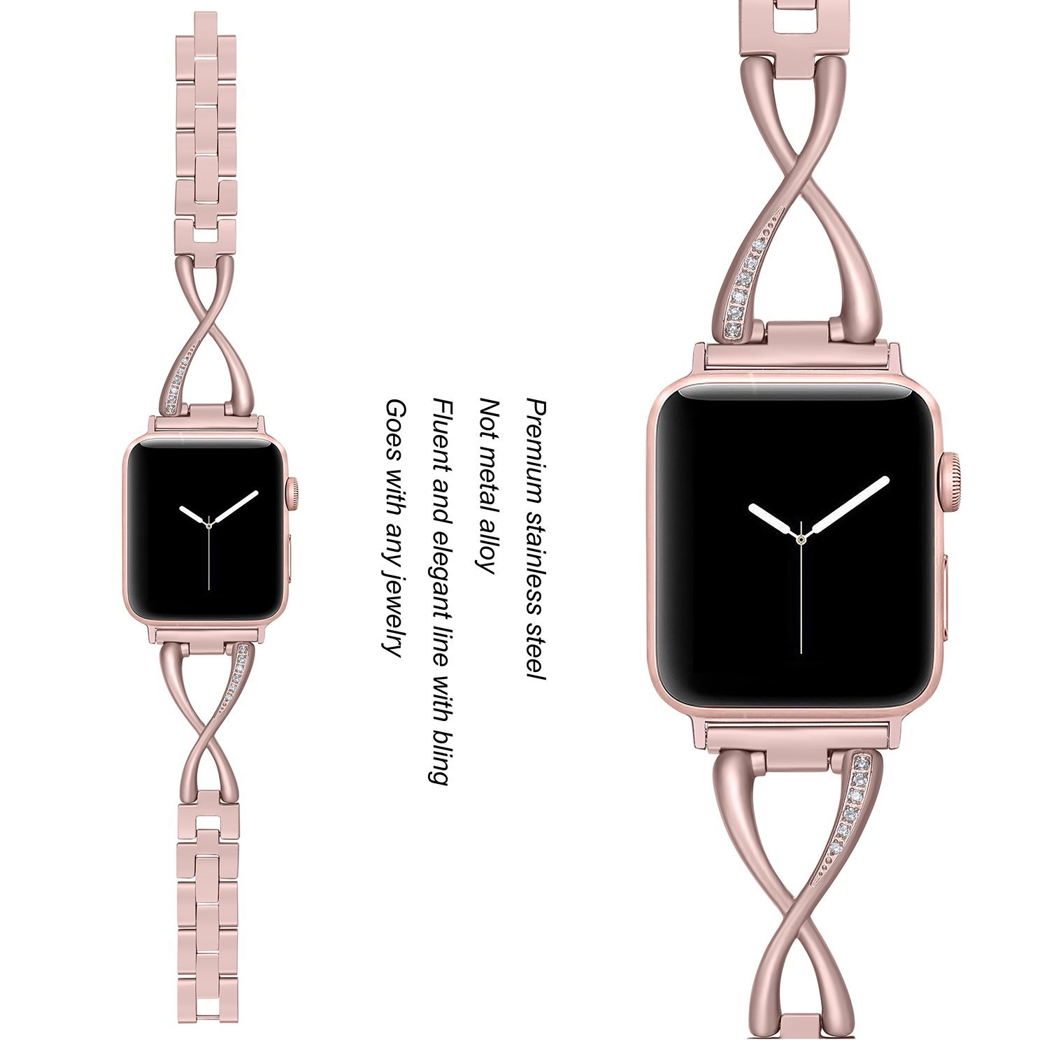 Image 2 - Women Watch band for Apple Watch Bands 38mm/42mm/40mm/44mm diamond Stainless Steel Strap for iwatch series 5 4 3 2 1 BraceletWatchbands   -