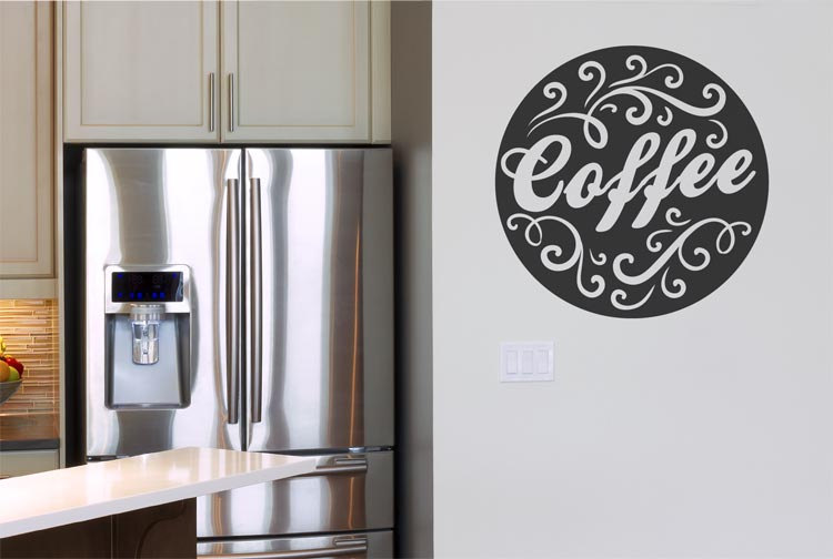 Coffee Brand Pattern Wall Decal Lace Vinyl Stickers Home Decor Coffee Cafe Shop Lettering Wall Sticker Modern Design Art SYY644 in Wall Stickers from Home Garden