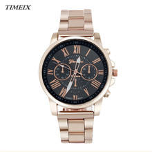 2017 New Geneva Watch Men Women Roman Number Stainless Steel Quartz Watches Casual Sports Dial Wrist