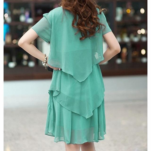5XL Plus Size Women Clothing 2018 Chiffon Dress Summer Dresses Party Short Sleeve Casual Vestido De Festa Blue Black Robe Femme 4