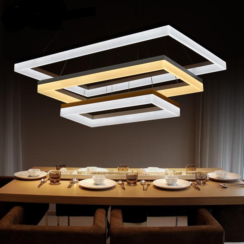 Rectangle LED Acrylic Aluminum Pendant Lights Minimalist Dining Living Room Lamp Pendant Lamp Bedroom Restaurant Lamps