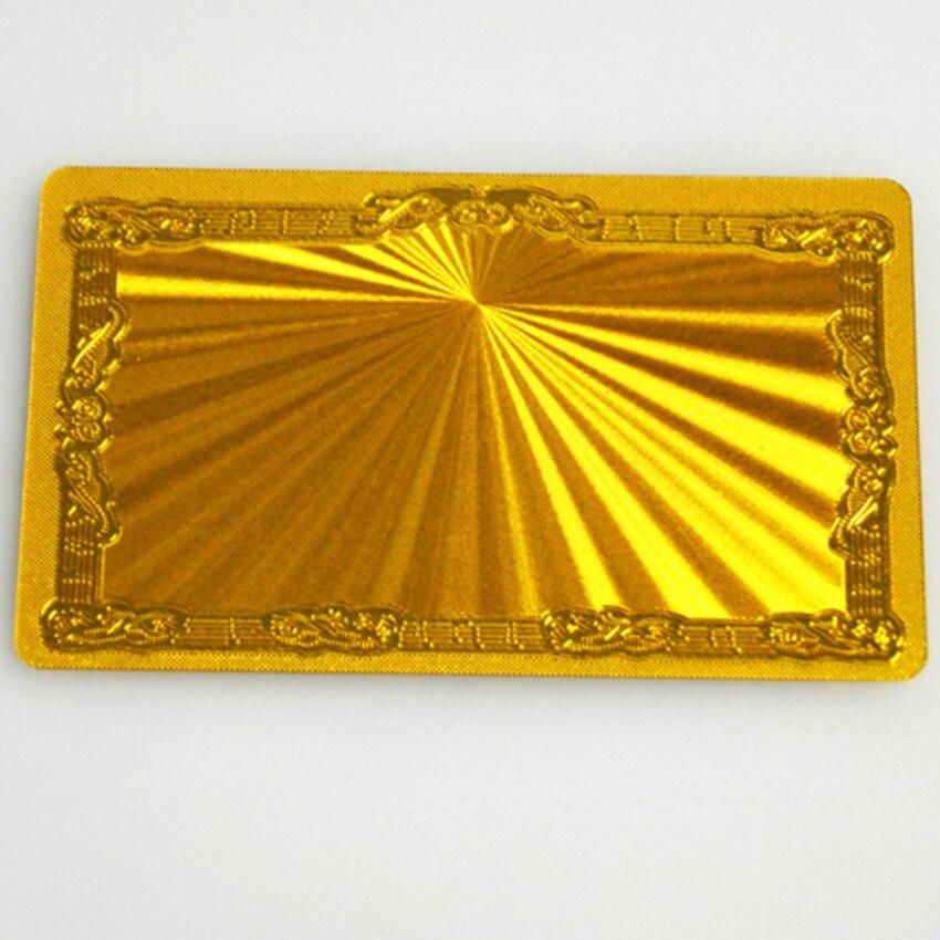 100pcs Gold Metallic plastic business cards Shading A