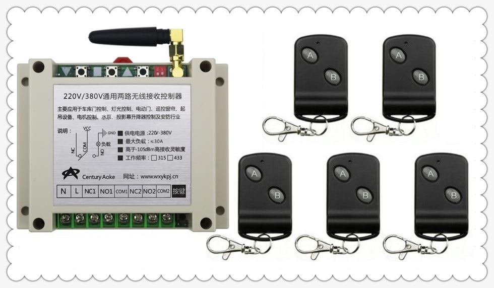 AC220V 250 V 380 V 30A 2CH RF Sans Fil Commutateur de Commande À Distance 5 Émetteur avec Deux boutons Récepteur pour appareils Porte Porte de Garage