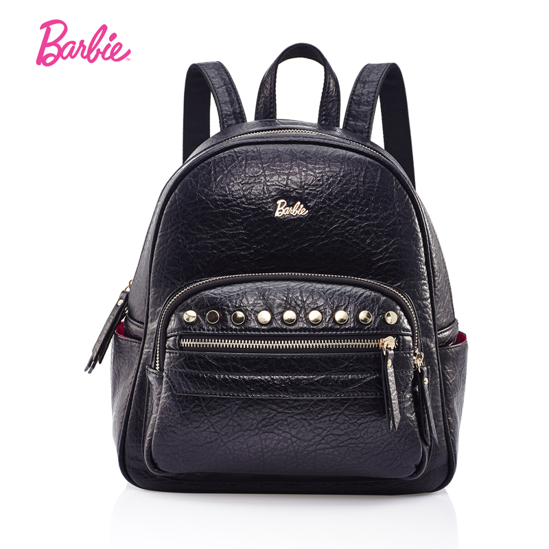 Barbie Women backpacks simple black classic style girls PU leather backpack Japan and Korean style cool