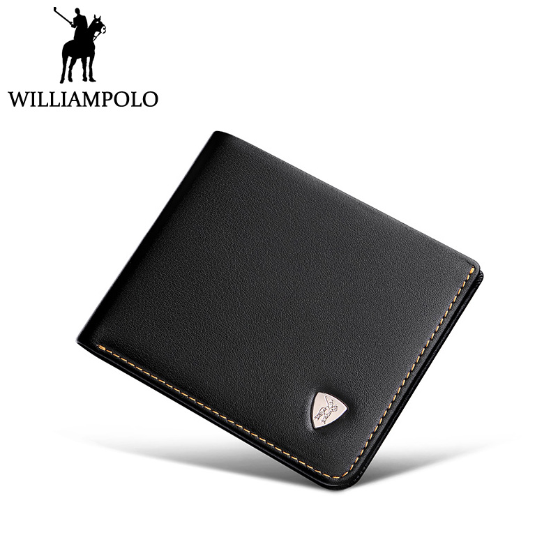 WILLIAMPOLO Small Wallet Mini Wallet Men Genuine Leather Purse Short Slim Design Metal Logo Black williampolo genuine leather men design slim thin mini wallet male small purse credit card short coin ultrathin wallet pl250