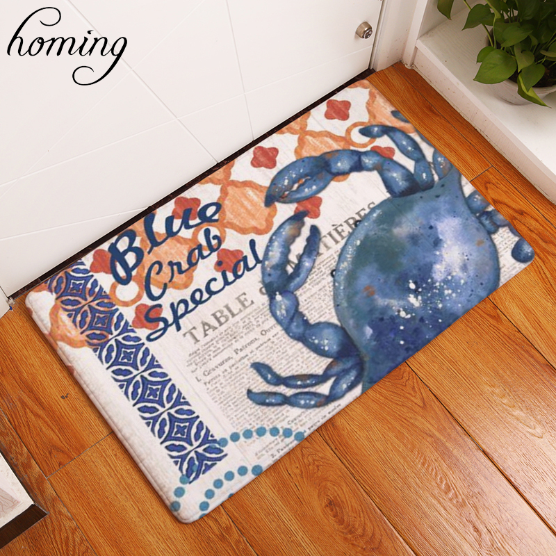 Homing Waterproof Light Thin Soft Doormat Outdoor Vintage Seaside Funny Crab Character Words Pattern Anti Slip Kitchen Floor Mat