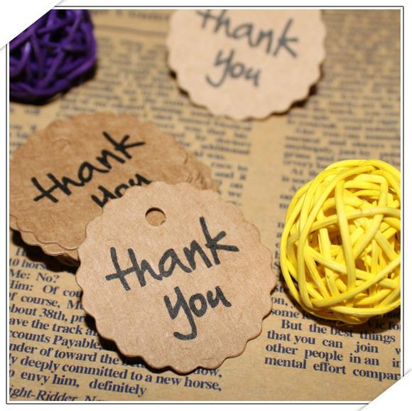 100pcs Kraft Paper Thank You Tag Paper Gift Tag Label Marks ...