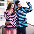 2016 Winter Couple Pajama Sets Warm Flannel Loose Lounge Sleepwear Men & Women Casual Striped Long Sleeve Home Clothing Pijama