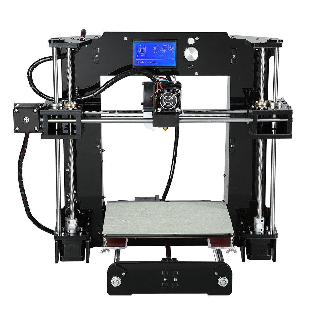 Prix pour Facile Assembler Alunar 3d imprimante machine Chauffante En Aluminium Reprap Prusa i3 3D Imprimante Kit DIY Avec Livraison Filament 16 GB carte et LCD