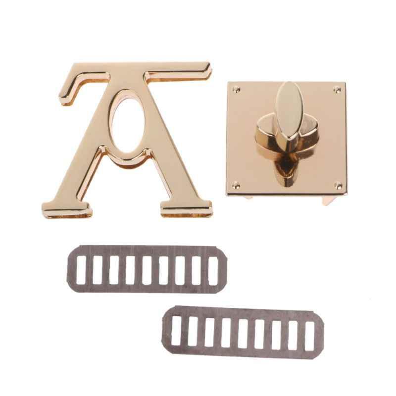 V צורת אבזם תור מנעול מנעולי טוויסט מתכת חומרה עבור DIY תיק תיק ארנק 4.2x3.9x3.8cm