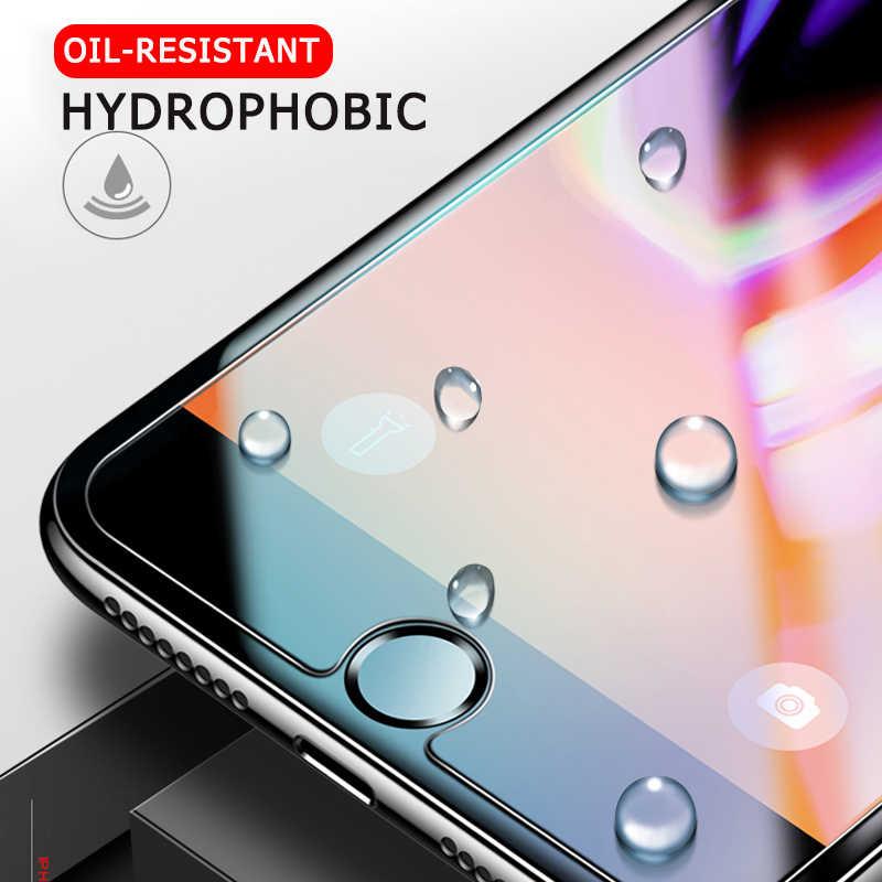 Tempered Glass Bening Depan dengan Ponsel Film Cleaning Pelindung Layar untuk iPhone X Max XR XS X 10 8 7 6 6 S Plus SE 4 S 5 S 5C 6 S 7