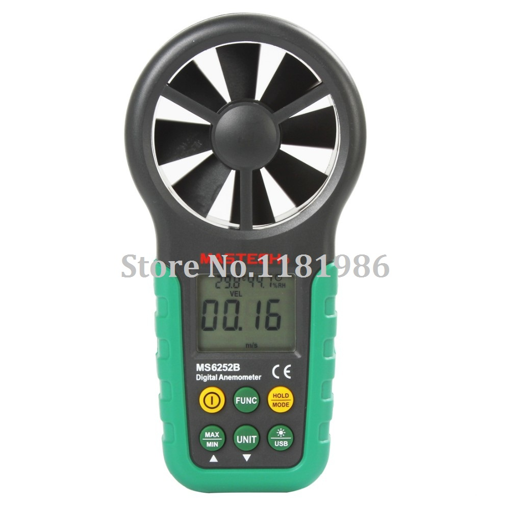 MASTECH MS6252B Digital Anemometer Wind Speed Meter Air Flow Tester Meter Volume Ambient Temperature Humidity With USB Interface  цены