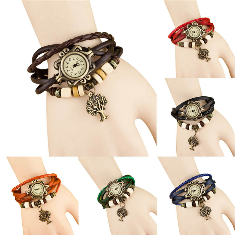 2018 new hot amazing wonderful practical popular Quartz Weave Around Leather Bracelet Lady Woman Wrist Watch P*21