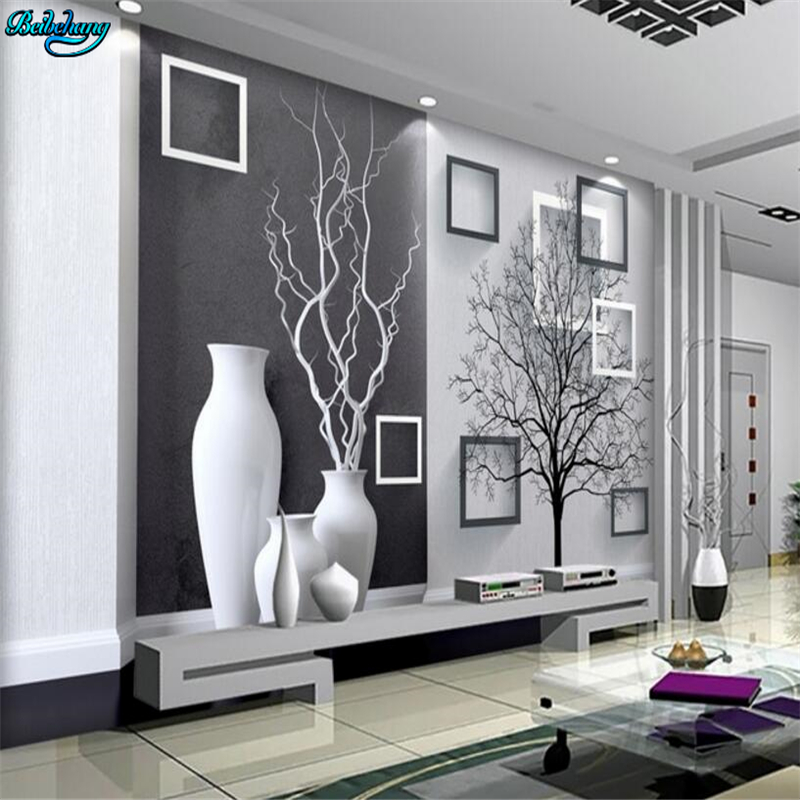 Beibehang Large Custom Modern Black And White Art Vase 3D TV Living Room Bedroom Background Home Decoration