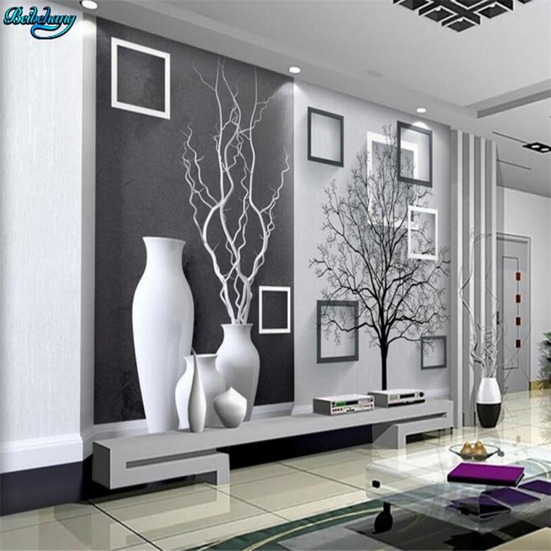 Beibehang Large Custom Modern Black And White Art Vase 3D TV Living Room Bedroom Background Home Decoration