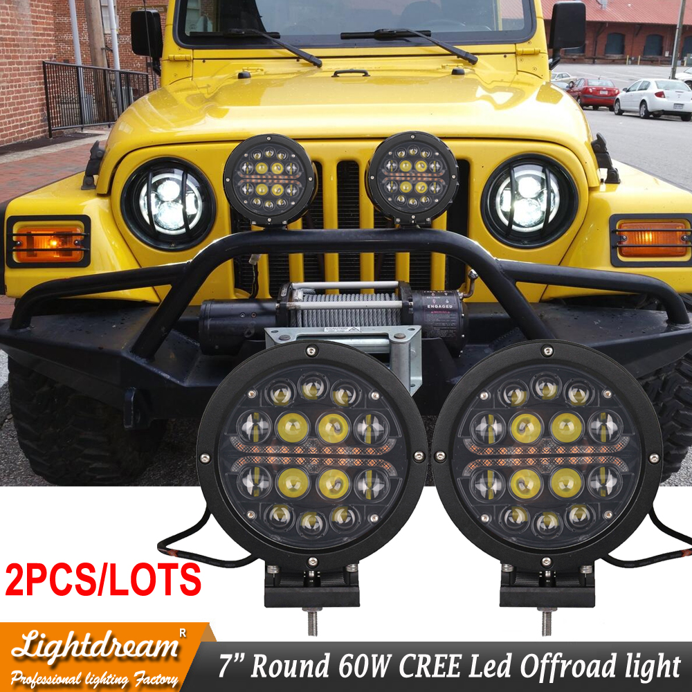 2pcs Free shipping 7inch 60W Round led work lights with LED Halo Amber DRL Used for tractor Boat Driving off road lights