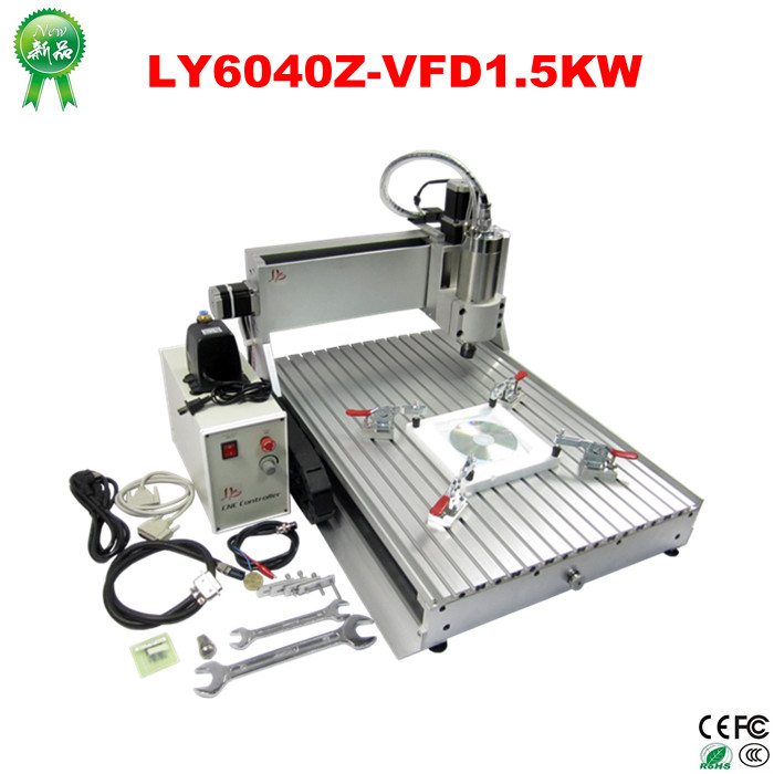 no taxes  China 3 axis desktop wood mini cnc router 6040 with 1.5kw spindle for full assembled china good quality wood cnc router china for sale