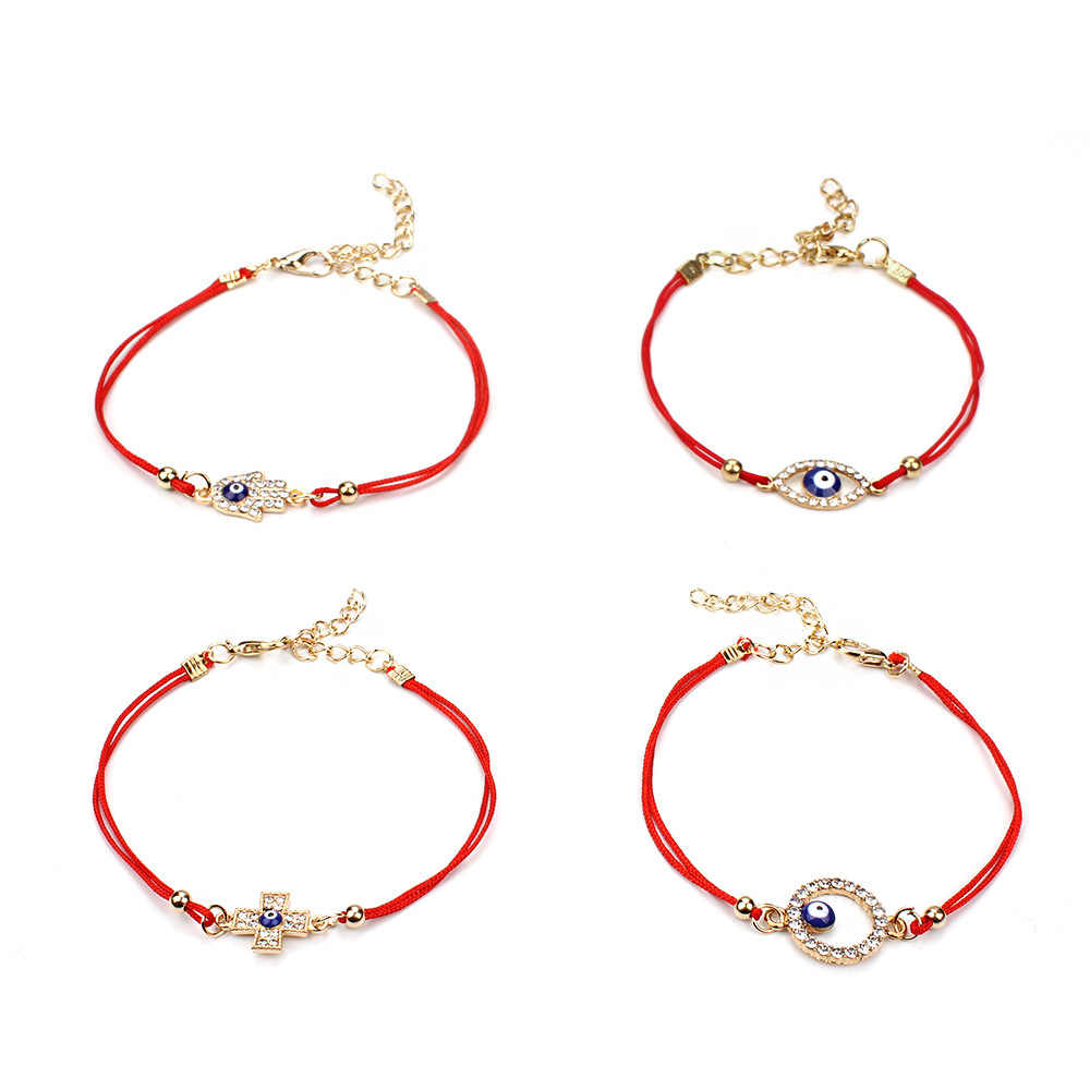 2019 New Red Thread Rope Bracelet Sideway Cross Karma Eye Woven Bracelet Boho Hamsa Fatima Hand Evil of Eye Blue Stone Jewelry