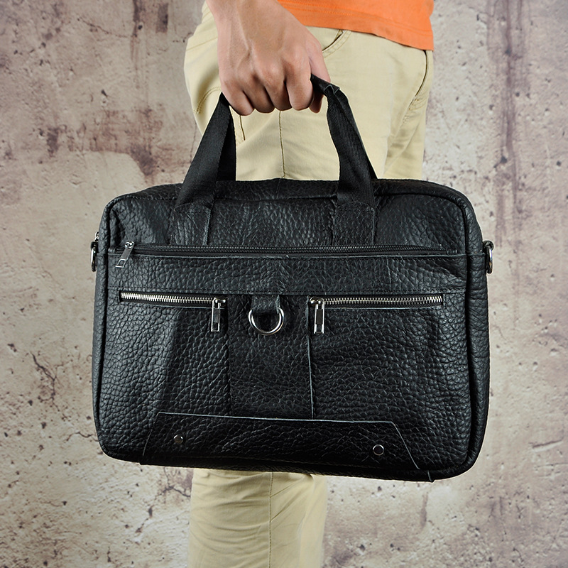 Le'aokuu Men Real Leather Antique Style Black Briefcase 13