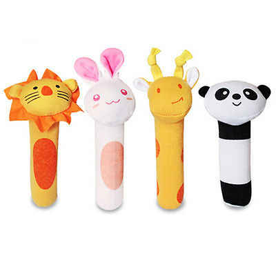 Newborn Kids Baby Soft Animal Handbells Rattles Bed Bells Developmental Toy New Gifts
