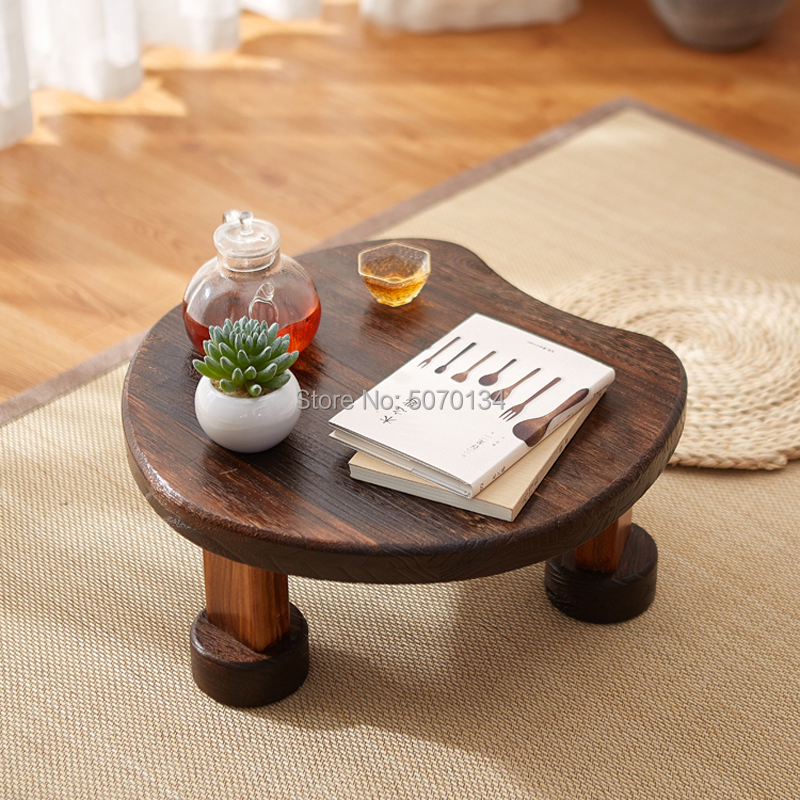 Antique Wooden Tea /Coffee table Heart-Shaped Paulownia Wood Traditional  Furniture Low Dinner Floor Side Table(China)